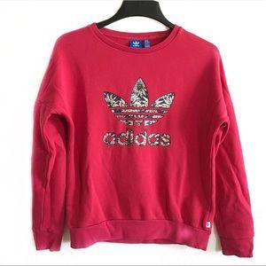 Adidas pink trefoil crewneck sweatshirt L 13/14